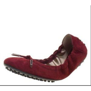 NEW Tod's Dee Laccetto Suede Ballet Flats Burgundy